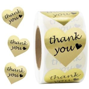 Office - 200 Gold Foil Heart Thank You Stickers